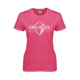 Ladies Fuchsia T Shirt-Diplomats Official Logo