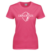 Ladies Fuchsia T Shirt-Diplomats Official Logo