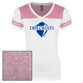 Ladies White/Heathered Pink Juniors Varsity V Neck Tee-Diplomats Official Logo