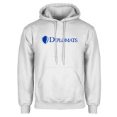 White Fleece Hoodie-Diplomats Flat Logo