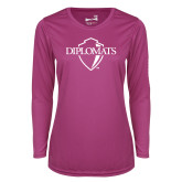 Ladies Syntrel Performance Raspberry Longsleeve Shirt-Diplomats Official Logo