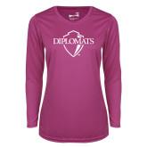 Ladies Syntrel Performance Raspberry Longsleeve Shirt-Diplomats Official Logo