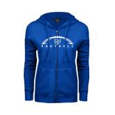 ENZA Ladies Royal Fleece Full Zip Hoodie-Flat Football Design