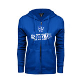 ENZA Ladies Royal Fleece Full Zip Hoodie-Volleyball Can You Dig It