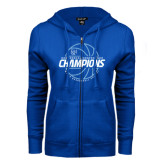ENZA Ladies Royal Fleece Full Zip Hoodie-2016-17 Centennial Conference Champions Mens Basketball