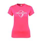 Ladies Performance Hot Pink Tee-Diplomats Official Logo