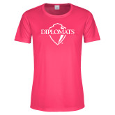 Ladies Performance Hot Pink Tee-Diplomats Official Logo