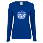 Ladies Royal Long Sleeve V Neck T Shirt-2017 Centennial Conference Champions Womens Lacrosse