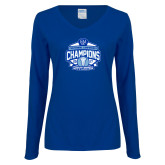 Ladies Royal Long Sleeve V Neck T Shirt-2017 Centennial Conference Champions Mens Lacrosse