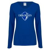 Ladies Royal Long Sleeve V Neck T Shirt-Diplomats Official Logo