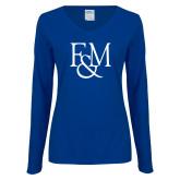 Ladies Royal Long Sleeve V Neck T Shirt-F&M