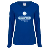Ladies Royal Long Sleeve V Neck T Shirt-2017 Centennial Conference Champions Mens Golf
