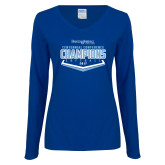 Ladies Royal Long Sleeve V Neck T Shirt-2017 Centennial Conference Champions Softball