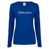 Ladies Royal Long Sleeve V Neck T Shirt-Diplomats Flat Logo