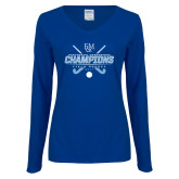 Ladies Royal Long Sleeve V Neck T Shirt-2017 Field Hockey Champions