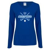 Ladies Royal Long Sleeve V Neck T Shirt-2017 Field Hockey Champions