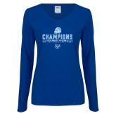 Ladies Royal Long Sleeve V Neck T Shirt-2017 Football Champions