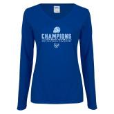 Ladies Royal Long Sleeve V Neck T Shirt-2017 Football Champions