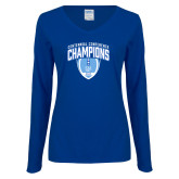 Ladies Royal Long Sleeve V Neck T Shirt-2017 Football Champions Stacked w/ Football Vertical