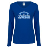 Ladies Royal Long Sleeve V Neck T Shirt-2017 Football Champions Stacked w/ Football