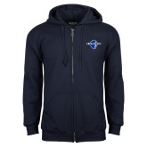 Navy Fleece Full Zip Hoodie-Diplomats Official Logo
