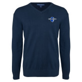 Classic Mens V Neck Navy Sweater-Diplomats Official Logo