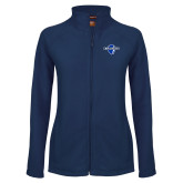 Ladies Fleece Full Zip Navy Jacket-Diplomats Official Logo