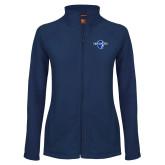 Ladies Fleece Full Zip Navy Jacket-Diplomats Official Logo