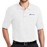 White Easycare Pique Polo-Diplomats Flat Logo
