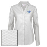 Ladies Red House Diamond Dobby White Long Sleeve Shirt-Diplomats Official Logo