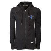 Ladies Under Armour Black Varsity Full Zip Hoodie-Diplomats Official Logo