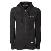 Ladies Under Armour Black Varsity Full Zip Hoodie-Diplomats Flat Logo