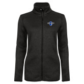 Black Heather Ladies Fleece Jacket-Diplomats Official Logo