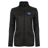 Black Heather Ladies Fleece Jacket-Diplomats Official Logo