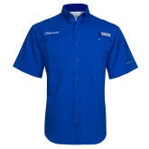 Columbia Tamiami Performance Royal Short Sleeve Shirt-Diplomats Flat Logo
