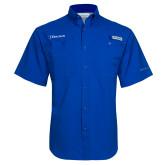 Columbia Tamiami Performance Royal Short Sleeve Shirt-Diplomats Flat Logo
