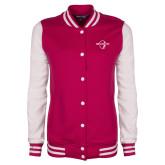 Ladies Pink Raspberry/White Fleece Letterman Jacket-Diplomats Official Logo