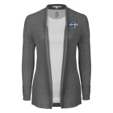 Ladies Heather Grey Open Front Cardigan-Diplomats Official Logo