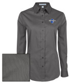 Ladies Grey Tonal Pattern Long Sleeve Shirt-Diplomats Official Logo