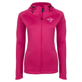 Ladies Tech Fleece Full Zip Hot Pink Hooded Jacket-Diplomats Official Logo