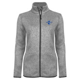 Grey Heather Ladies Fleece Jacket-Diplomats Official Logo