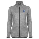 Grey Heather Ladies Fleece Jacket-Diplomats Official Logo