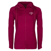 Ladies Sport Wick Stretch Full Zip Deep Berry Jacket-Diplomats Official Logo