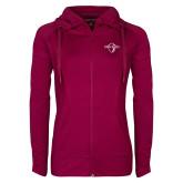 Ladies Sport Wick Stretch Full Zip Deep Berry Jacket-Diplomats Official Logo
