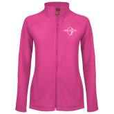 Ladies Fleece Full Zip Raspberry Jacket-Diplomats Official Logo