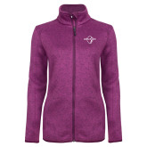 Dark Pink Heather Ladies Fleece Jacket-Diplomats Official Logo