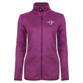 Dark Pink Heather Ladies Fleece Jacket-Diplomats Official Logo