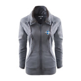 Ladies Sport Wick Stretch Full Zip Charcoal Jacket-Diplomats Official Logo