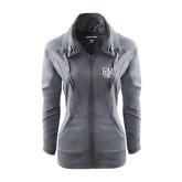 Ladies Sport Wick Stretch Full Zip Charcoal Jacket-F&M