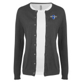Ladies Charcoal Cardigan-Diplomats Official Logo